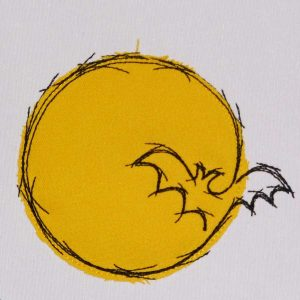 Bat in the moon applique - Machine embroidery design by Elfenidee