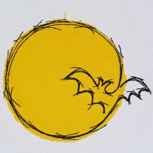 embroidery file bat in the moon applique