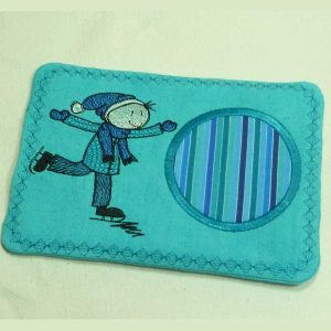 embroidery Drip mat Wolly ice scating right