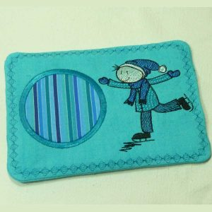 embroidery file drip mat Wolly ice scating left