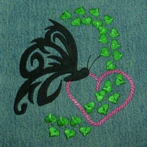 embroidery file Butterfly with heart