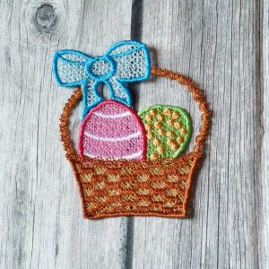 Lace embroidery, Easter baskets