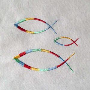 machine embroidery design Christian fish