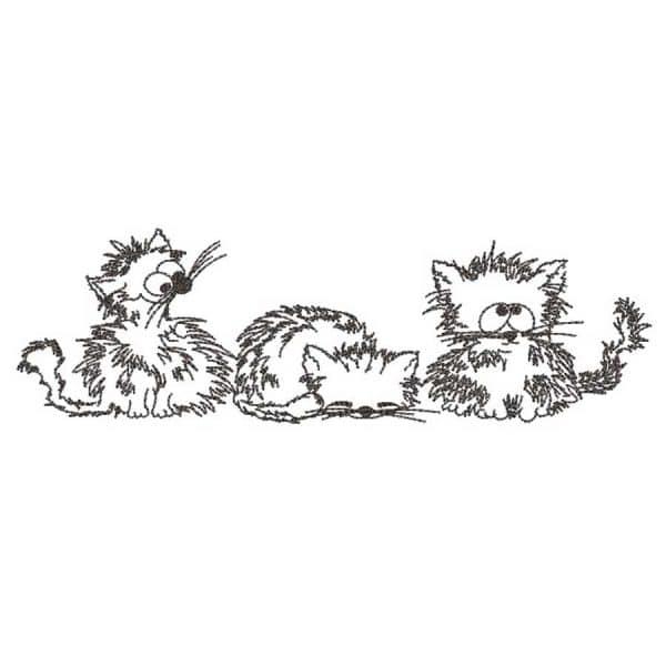 Embroidery design - Three Kitten Cartoon preview