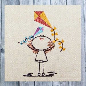 embroidery file Lilly kiteflying