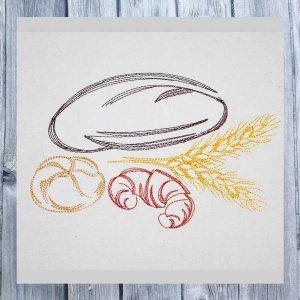 Bread Croissant 1318 - machine embroidery design