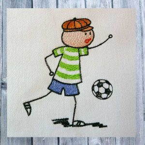 embroidery Wolly plays soccer