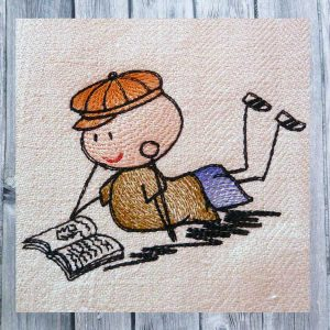 embroidery Wolly reading