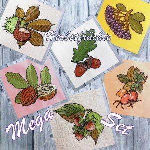 embroidery file Autumn fruits mega set