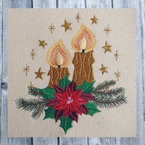 embroidery design christmas Advent candles 1318
