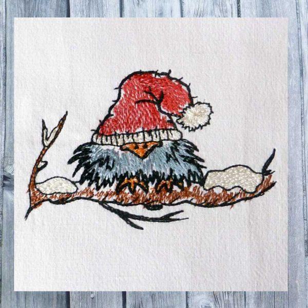 Embroidery design Scribbled Bird Winter 1010