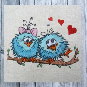 birds in  love - Machine embroidery design