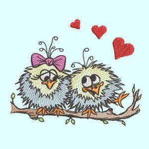 machine embroidery design - birds love