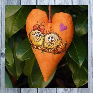 machine embroidery design ITH Heart Birds