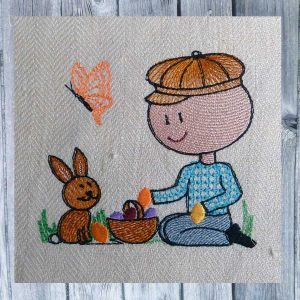 machine embroidery Wollys easter