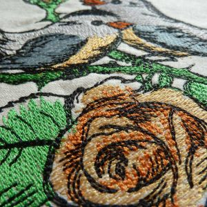 embroidery Rose birds 1318 colored Detail1