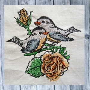 embroidery Rose birds 1318 colored