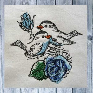 Rose Birds 1318 machine embroidery