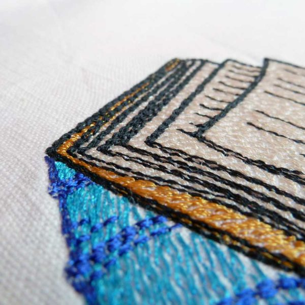 machine embroidery Open Book detail1
