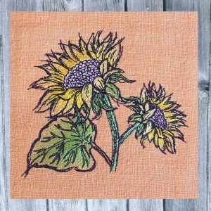embroidery design sunflower 4x4