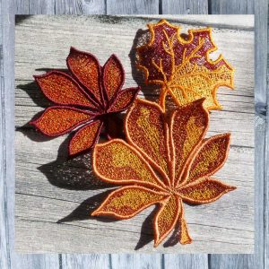 Autumn Leaves Lace Set-2 - Machine Embroidery