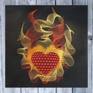 Heart in flames 1318 - machine embroidery
