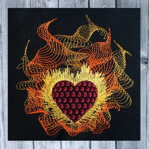machine embroidery - Heart in flames 1010