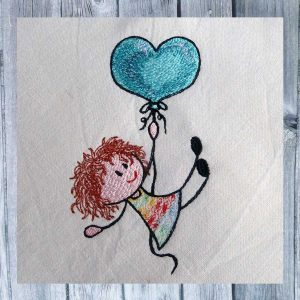 Lilly's heart balloon - embroidery