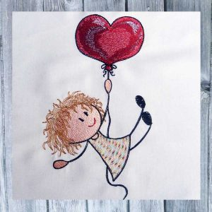 Lilly with heart balloon 1318 - embroidery