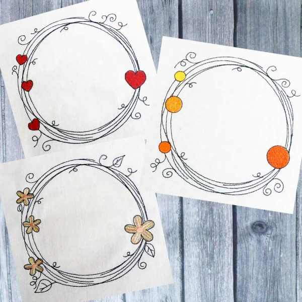 Scribble frame set 13x13 - embroidery