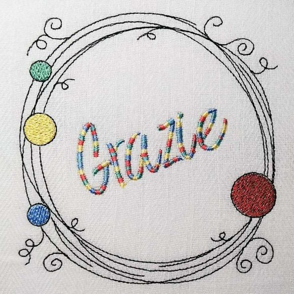Scribble frame set 13x13 - embroidery example 1