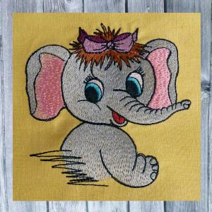 Machine Embroidery elephant girl 10x10