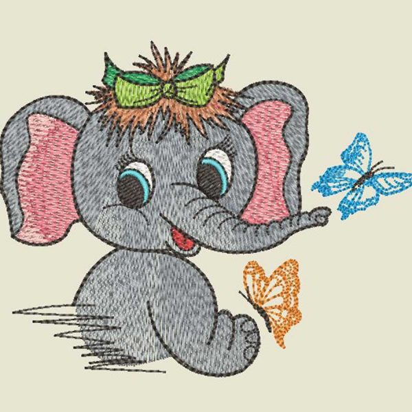 Machine Embroidery elephant girl 10x10 preview 1