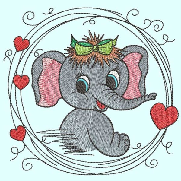 SMachine Embroidery elephant girl 10x10 example