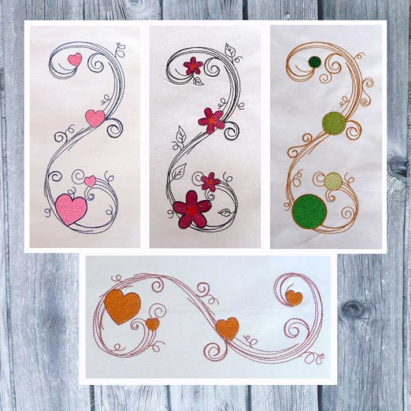 Scribble tendrils set 13x18 - machine embroidery