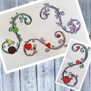 Scribble tendrils set 10x10 - machine embroidery