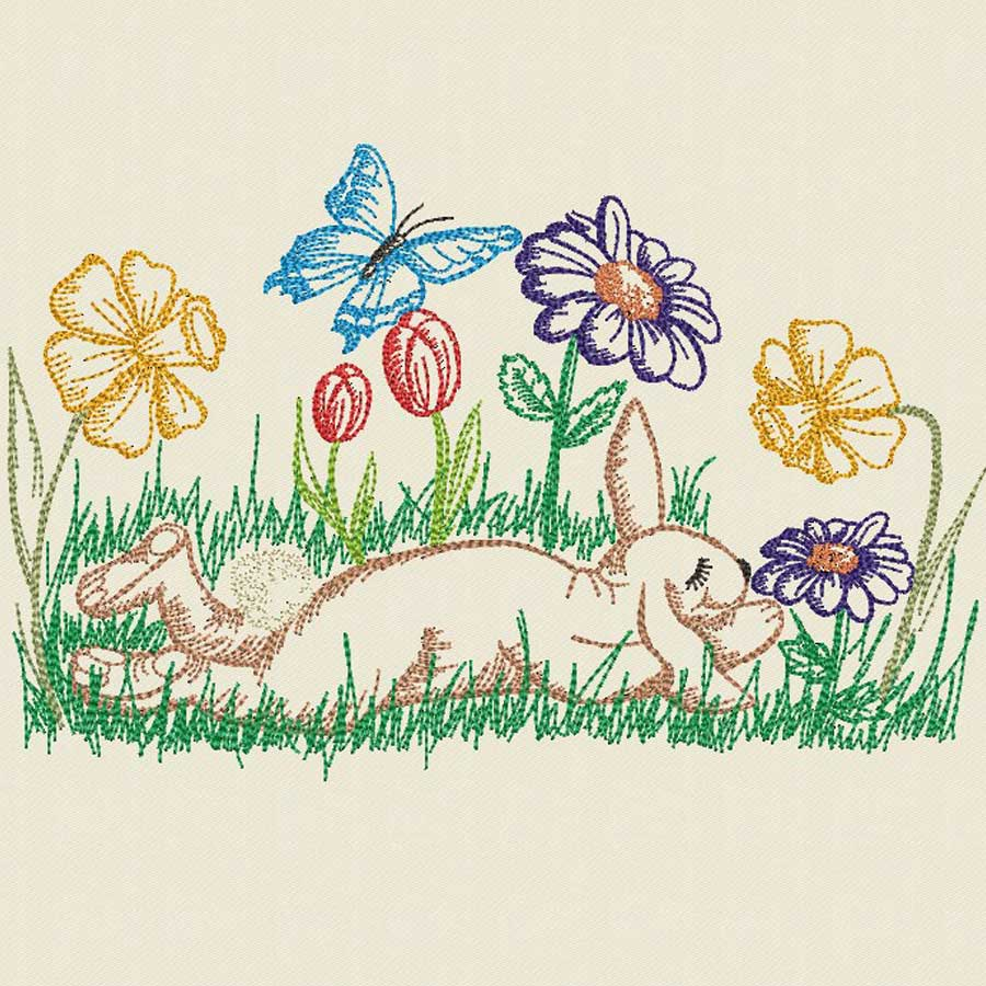 embroidery file Rabbits Meadow
