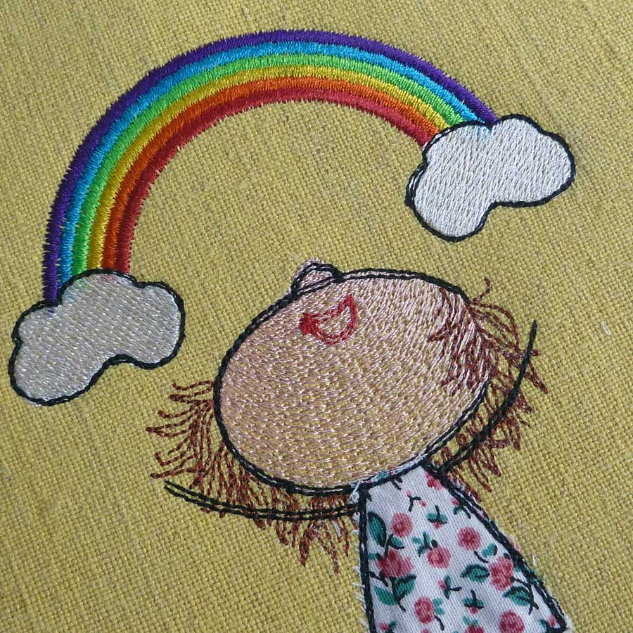 Lillys Rainbow embroidery design Detail1