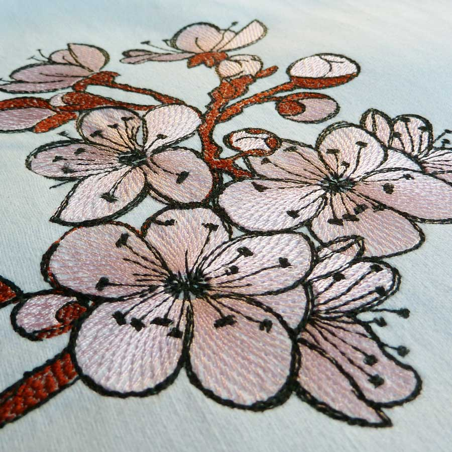 Cherry Blossom 1318 - machine embroidery Detail1