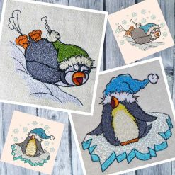 Stickdatei Pinguine Set 10x10